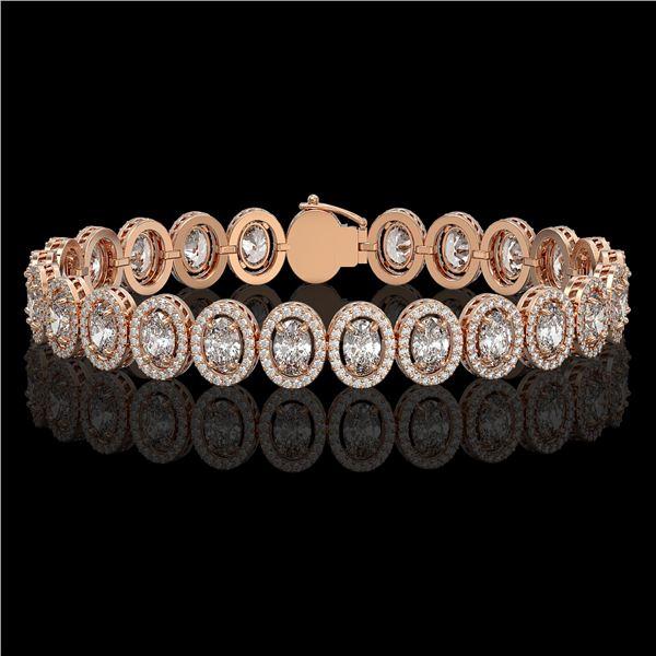 15.8 ctw Oval Cut Diamond Micro Pave Bracelet 18K Rose Gold - REF-2129Y2X