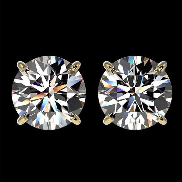 3 ctw Certified Diamond Solitaire Stud Earrings 10k Yellow Gold - REF-512K3Y
