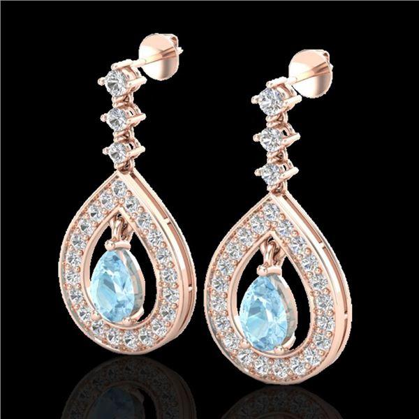 2.25 ctw Aquamarine & Micro Pave VS/SI Diamond Earrings 14k Rose Gold - REF-103K3Y