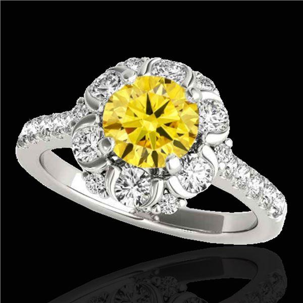 2.05 ctw Certified SI/I Fancy Intense Yellow Diamond Ring 10k White Gold - REF-225M2G