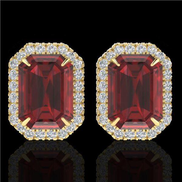 12 ctw Garnet & Micro Pave VS/SI Diamond Earrings 18k Yellow Gold - REF-83F6M