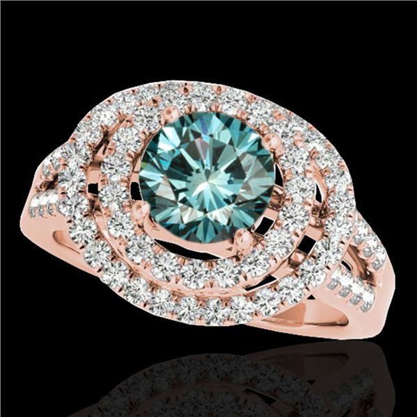 1.75 ctw SI Certified Fancy Blue Diamond Halo Ring 10k Rose Gold - REF-135A2N