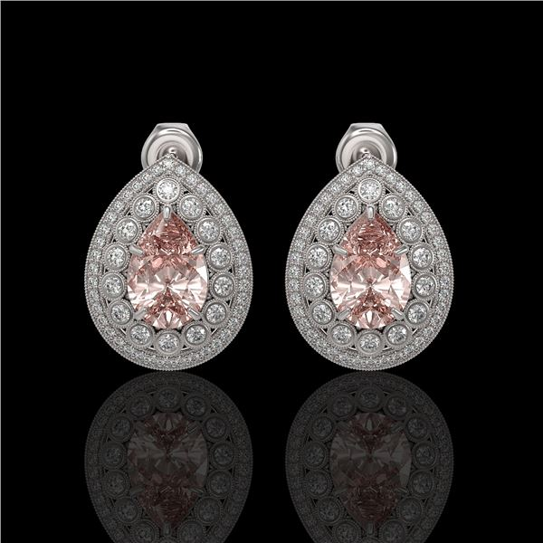 7.94 ctw Morganite & Diamond Victorian Earrings 14K White Gold - REF-339Y5X