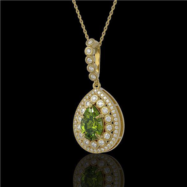 4.97 ctw Tourmaline & Diamond Victorian Necklace 14K Yellow Gold - REF-164K2Y