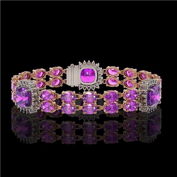 16.25 ctw Amethyst & Diamond Bracelet 14K Rose Gold - REF-263M6G