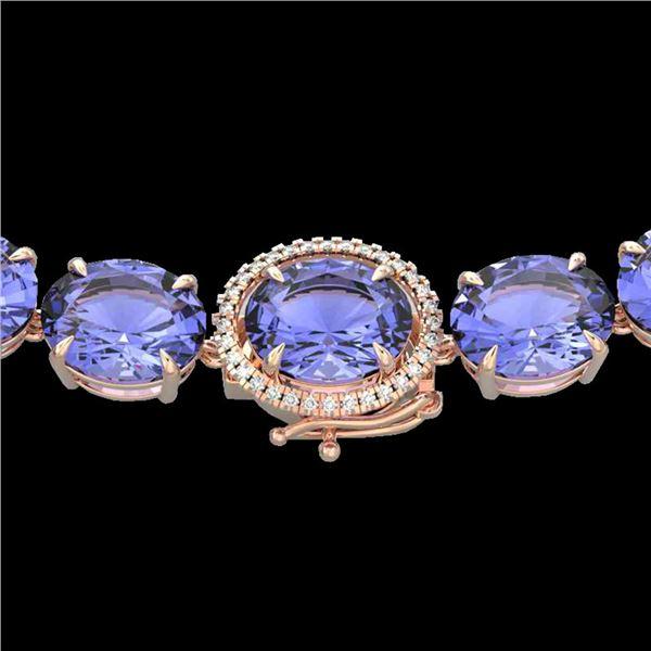 170 ctw Tanzanite & Diamond Micro Eternity Necklace 14k Rose Gold - REF-3163R6K