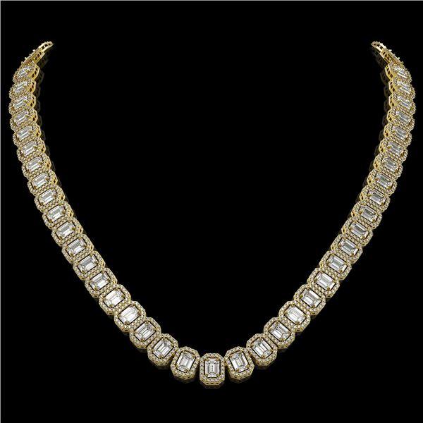 40.3 ctw Emerald Cut Diamond Micro Pave Necklace 18K Yellow Gold - REF-6301R5K