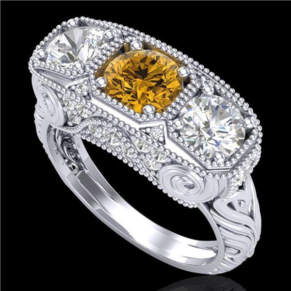 2.51 ctw Intense Fancy Yellow Diamond Art Deco Ring 18k White Gold - REF-345G5W