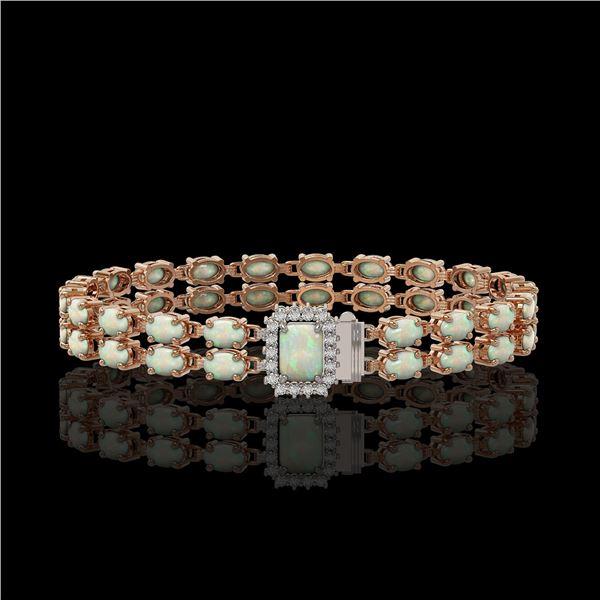 13.48 ctw Opal & Diamond Bracelet 14K Rose Gold - REF-236N4F