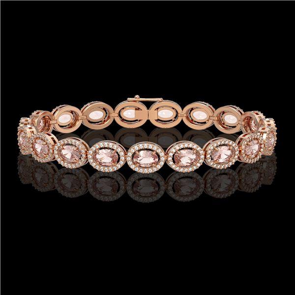 14.25 ctw Morganite & Diamond Micro Pave Halo Bracelet 10k Rose Gold - REF-294G2W