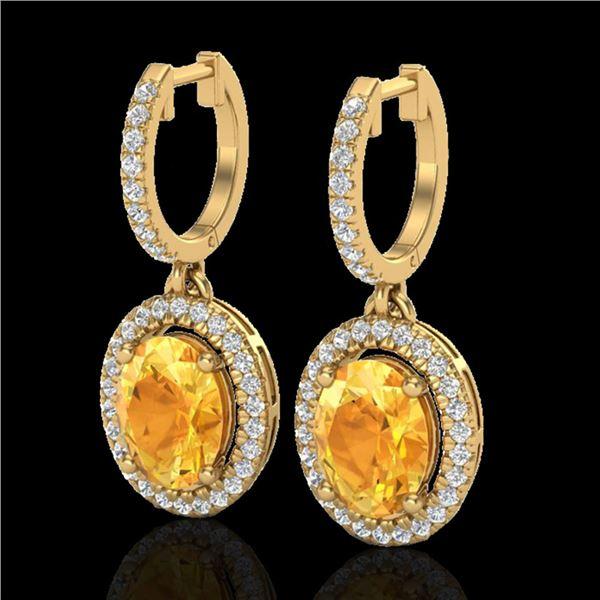 3.50 ctw Citrine & Micro Pave VS/SI Diamond Earrings 18k Yellow Gold - REF-94R5K