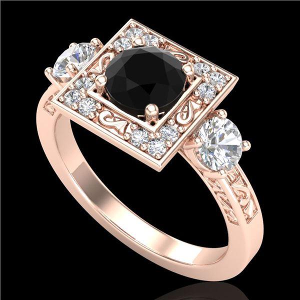 1.55 ctw Fancy Black Diamond Art Deco 3 Stone Ring 18k Rose Gold - REF-149M3G