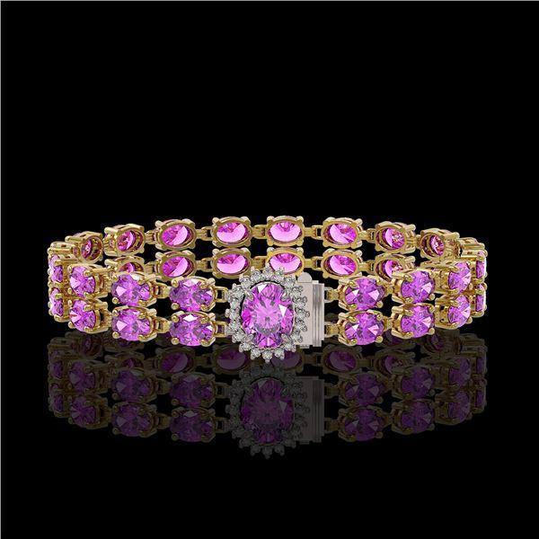 14.1 ctw Amethyst & Diamond Bracelet 14K Yellow Gold - REF-209Y3X