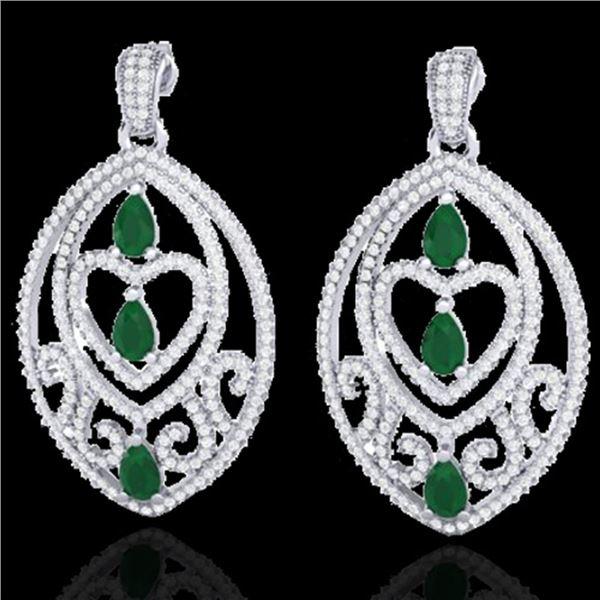 7 ctw Emerald & Micro Pave VS/SI Diamond Heart Earrings 18k White Gold - REF-418X2A
