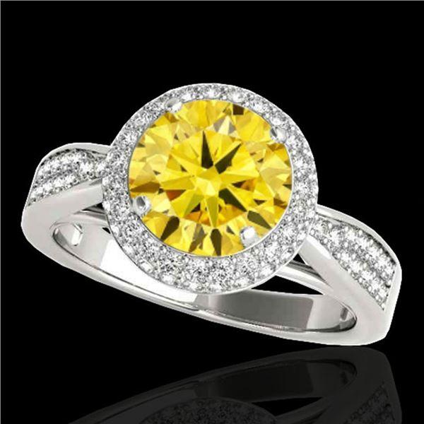 1.65 ctw Certified SI/I Fancy Intense Yellow Diamond Ring 10k White Gold - REF-204A5N