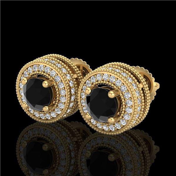 2.09 ctw Fancy Black Diamond Art Deco Stud Earrings 18k Yellow Gold - REF-172G8W