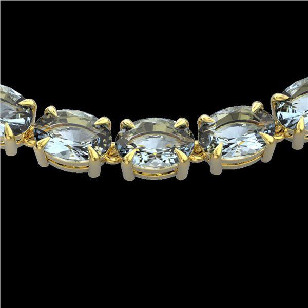 45 ctw Aquamarine Eternity Designer Necklace 14k Yellow Gold - REF-418X5A