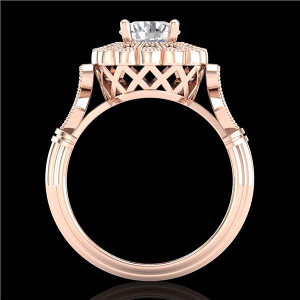 1.2 ctw VS/SI Diamond Solitaire Art Deco Ring 18k Rose Gold - REF-345K2Y