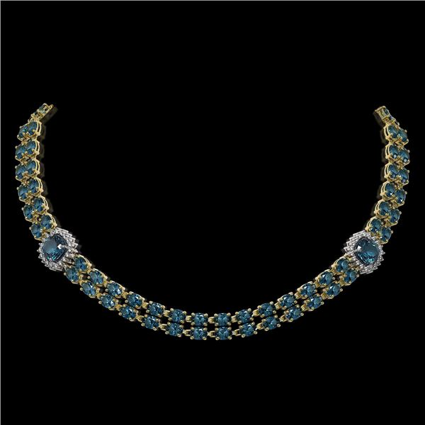 39.55 ctw London Topaz & Diamond Necklace 14K Yellow Gold - REF-527K3Y