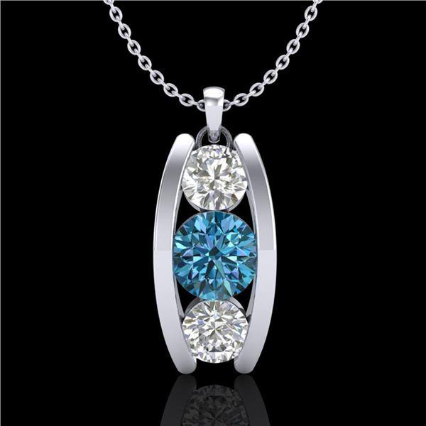 1.07 ctw Fancy Intense Blue Diamond Art Deco Necklace 18k White Gold - REF-123W6H