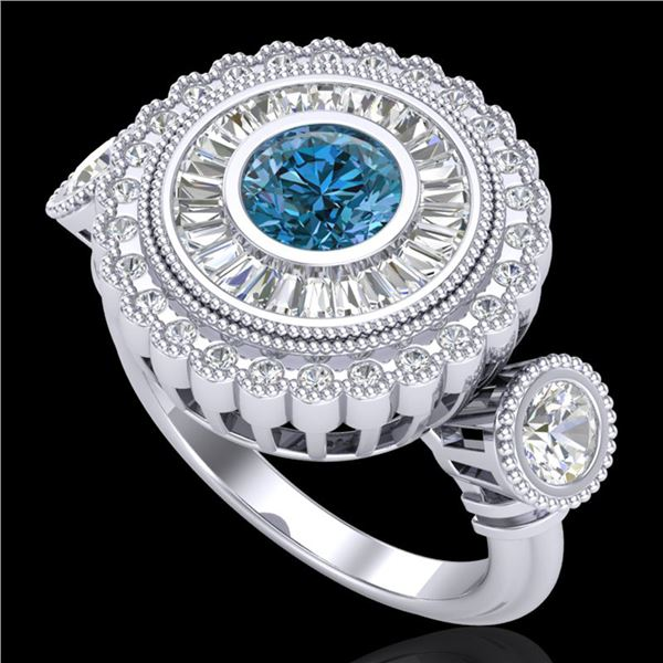 2.62 ctw Intense Blue Diamond Art Deco 3 Stone Ring 18k White Gold - REF-290N9F