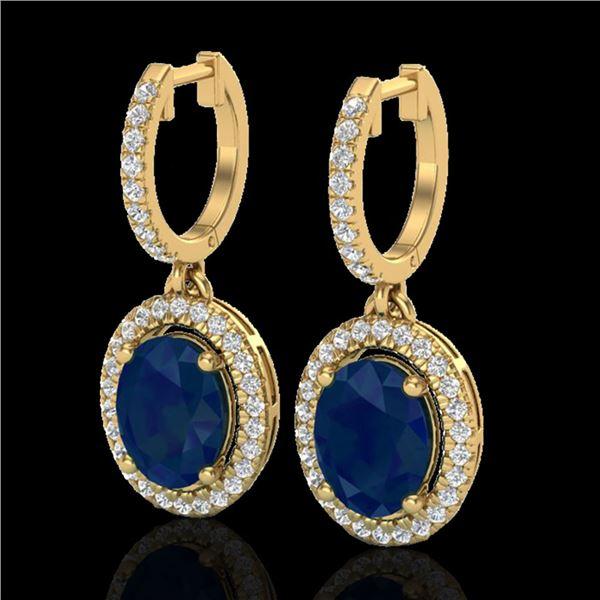 4.25 ctw Sapphire & Micro Pave VS/SI Diamond Earrings 18k Yellow Gold - REF-107G3W