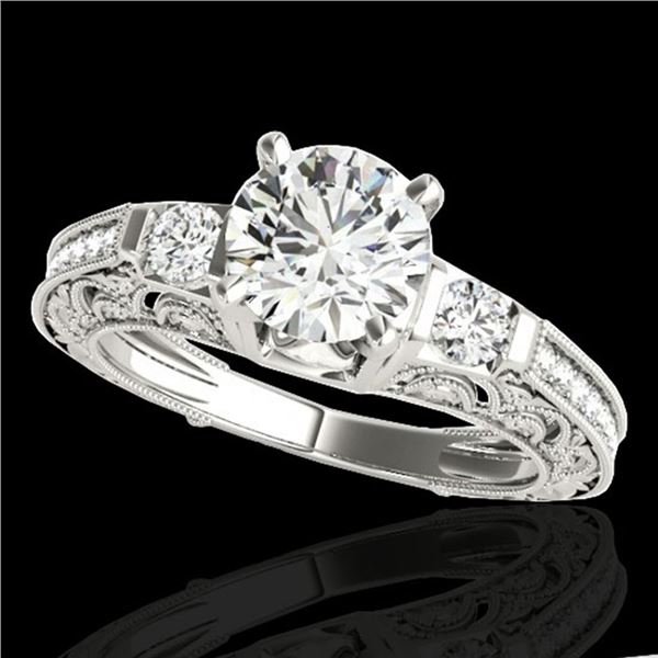 1.38 ctw Certified Diamond Solitaire Antique Ring 10k White Gold - REF-201N8F