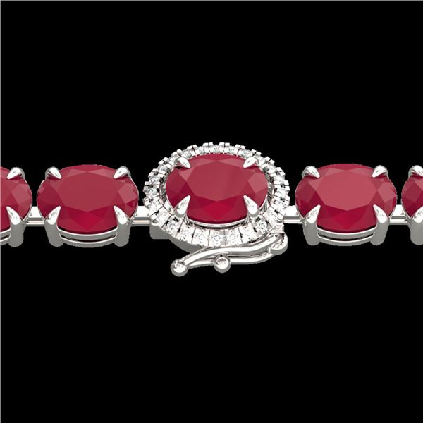 23.25 ctw Ruby & VS/SI Diamond Eternity Micro Bracelet 14k White Gold - REF-154A5N