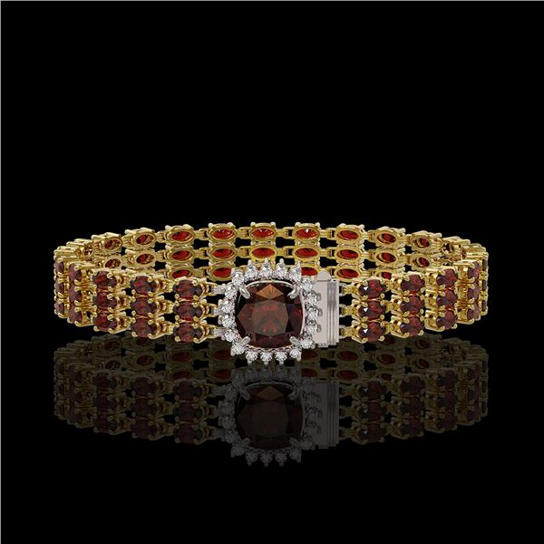 25.08 ctw Garnet & Diamond Bracelet 14K Yellow Gold - REF-281M8G