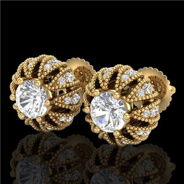 2.01 ctw VS/SI Diamond Art Deco Micro Pave Stud Earrings 18k Yellow Gold - REF-272K8Y