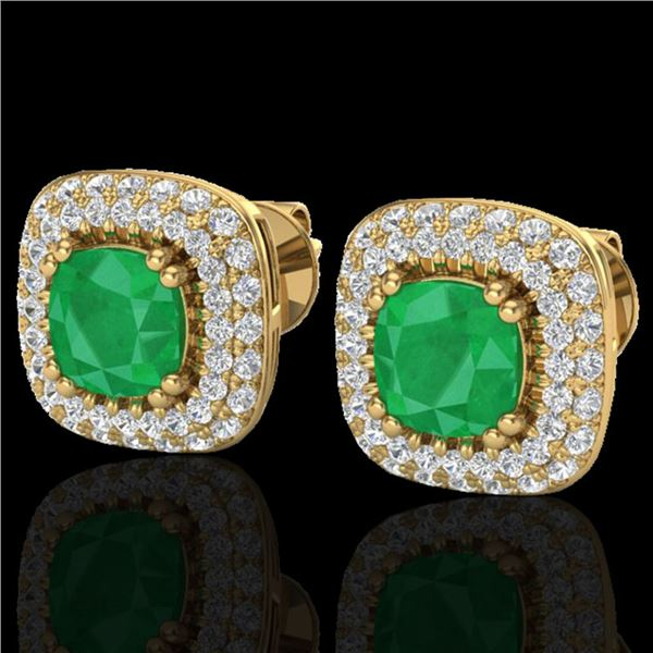 2.16 ctw Emerald & Micro VS/SI Diamond Earrings Halo 18k Yellow Gold - REF-105M6G