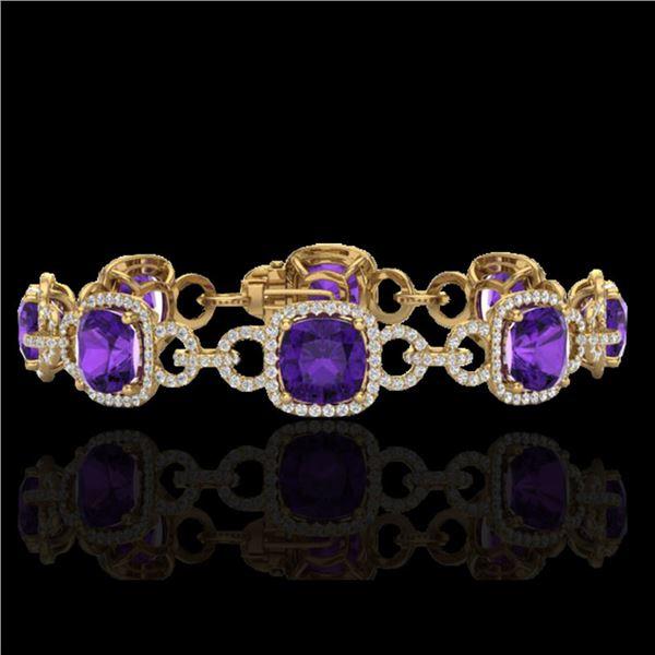 30 ctw Amethyst & Micro VS/SI Diamond Bracelet 14k Yellow Gold - REF-368K9Y