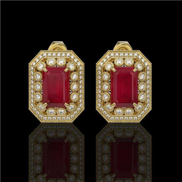 13.75 ctw Certified Ruby & Diamond Victorian Earrings 14K Yellow Gold - REF-266Y4X