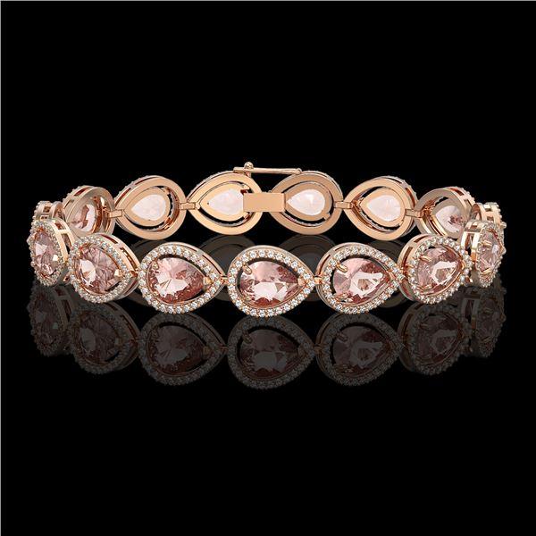 19.55 ctw Morganite & Diamond Micro Pave Halo Bracelet 10k Rose Gold - REF-480K4Y