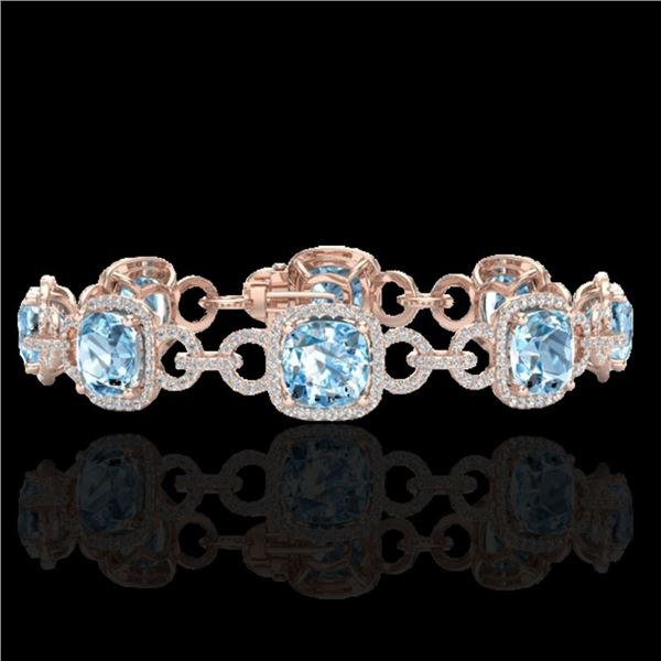30 ctw TOPAZ & Micro VS/SI Diamond Certified Bracelet 14k Rose Gold - REF-368Y9X