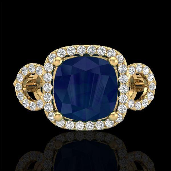 3.15 ctw Sapphire & Micro VS/SI Diamond Certified Ring 18k Yellow Gold - REF-76K8Y