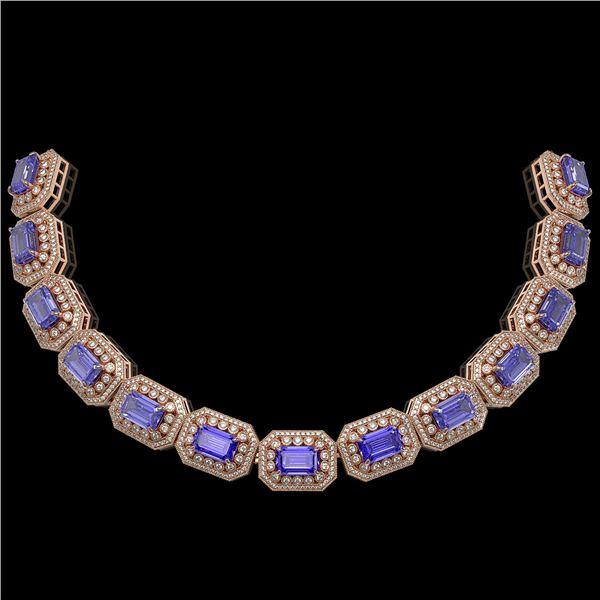 112.65 ctw Tanzanite & Diamond Victorian Necklace 14K Rose Gold - REF-5818M2G