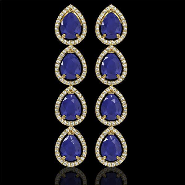 16.01 ctw Sapphire & Diamond Micro Pave Halo Earrings 10k Yellow Gold - REF-180N2F