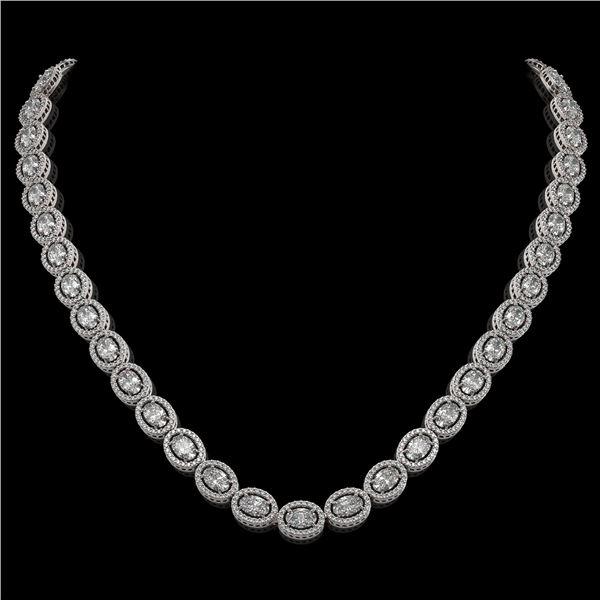 30.41 ctw Oval Cut Diamond Micro Pave Necklace 18K White Gold - REF-4148M9G