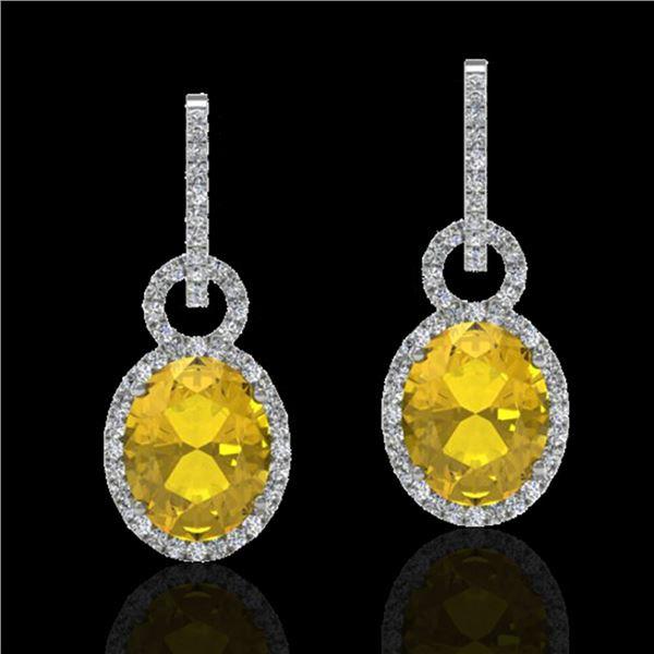 6 ctw Citrine & Micro Pave Halo VS/SI Diamond Earrings 14k White Gold - REF-98H2R