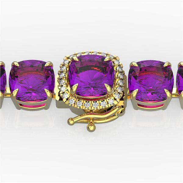46 ctw Amethyst & Micro Pave Diamond Bracelet 14k Yellow Gold - REF-157Y3X