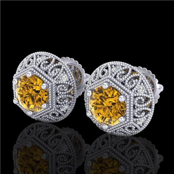 1.31 ctw Intense Fancy Yellow Diamond Art Deco Earrings 18k White Gold - REF-149W3H