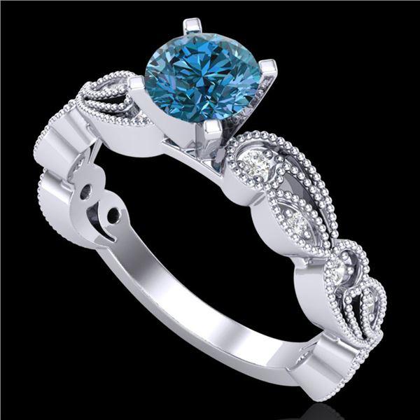 1.01 ctw Fancy Intense Blue Diamond Art Deco Ring 18k White Gold - REF-143R6K