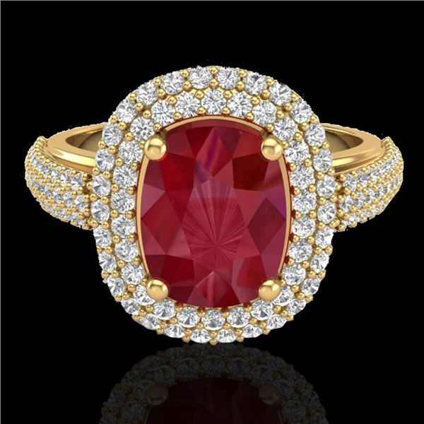 3.50 ctw Ruby & Micro Pave VS/SI Diamond Certified Ring 18k Yellow Gold - REF-143W6H