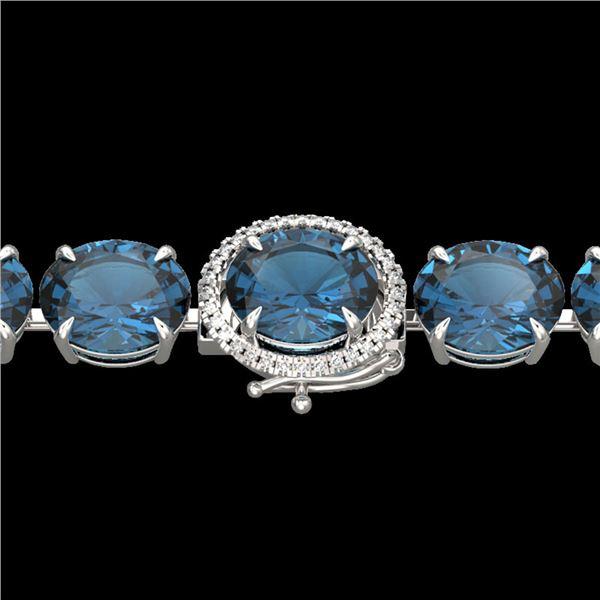 79 ctw London Blue Topaz & Micro Diamond Bracelet 14k White Gold - REF-272W2H