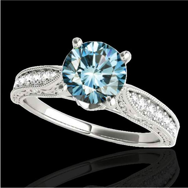 1.21 ctw SI Certified Blue Diamond Solitaire Antique Ring 10k White Gold - REF-121G4W
