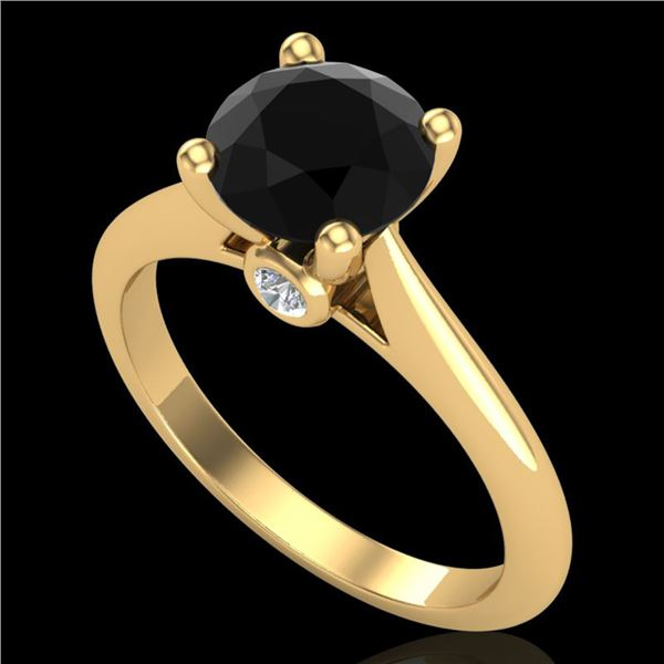 1.6 ctw Fancy Black Diamond Engagment Art Deco Ring 18k Yellow Gold - REF-75A2N