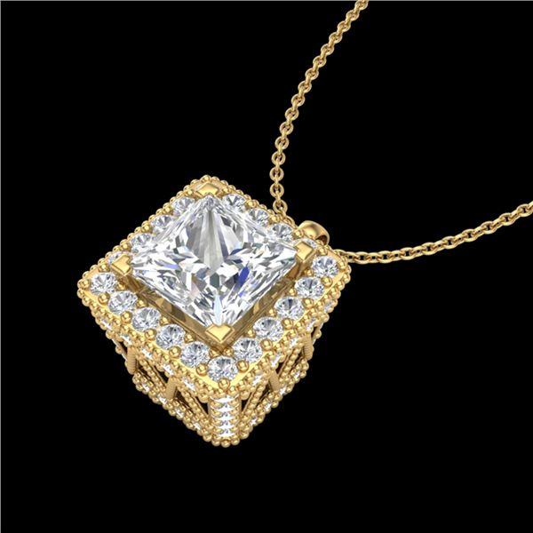 1.93 ctw Princess VS/SI Diamond Micro Pave Necklace 18k Yellow Gold - REF-436X4A