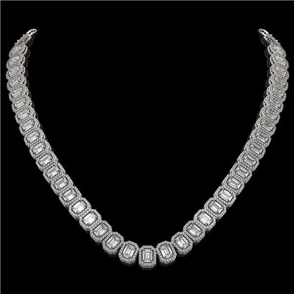 40.3 ctw Emerald Cut Diamond Micro Pave Necklace 18K White Gold - REF-6301M5G