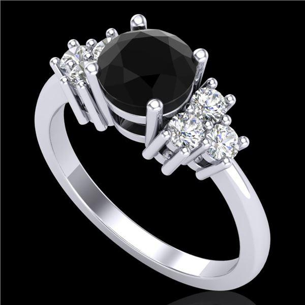 1.5 ctw Fancy Black Diamond Engagment Ring 18k White Gold - REF-120A2N